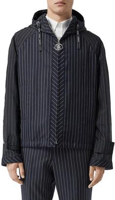 Burberry Pinstripe Hooded Wool Jacket