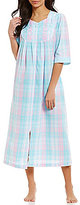 Miss Elaine Plaid Seersucker Zip Robe