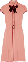 Alice + Olivia Carie Velvet-trimmed Crepe Dress - Antique rose