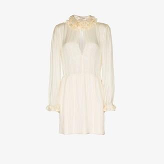 Saint Laurent Ruffle Neck Mini Dress
