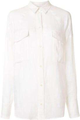 Karen Walker Cedar pointed collar ramie shirt