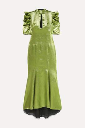 De La Vali Audrey Ruched Lurex Maxi Dress - Green