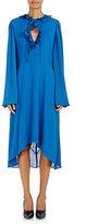 Balenciaga Women's Chiffon Long-Sleeve Dress-BLUE