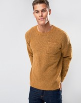 Asos Jumper In Spongy Yarn With Chest Pocket And Roll Up Cuffs