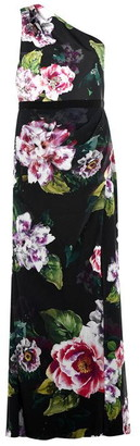 Adrianna Papell One Shoulder Floral Dress