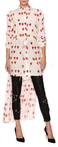 Alexander McQueen Petal-Print Drawstring High-Low Silk Blouse