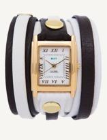 La Mer White-black Gold Mixed Layer Wrap Watch.