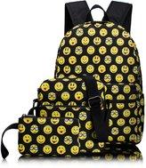Tibes Cute Canvas Backpack Funny Emoji Backpack for Kids Girls/Boys Daypack