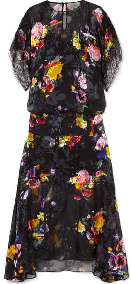 Preen by Thornton Bregazzi Leonora Floral-print Devoré Silk-blend Satin Midi Dress - Black