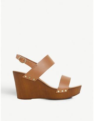 Dune Kimmey leather slingback platform wedge sandals