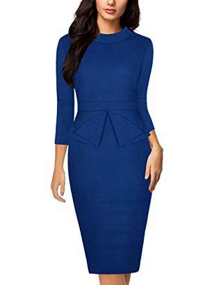 Moyabo Formal Dresses for Women Stand Collar Vintage Bodycon Peplum Bussiness Formal Work Pencil Dress