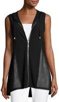 Neiman Marcus High-Low Zip-Front Hooded Vest, Black