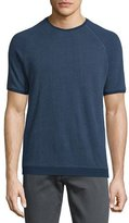 John Varvatos Textured Crewneck Short-Sleeve Sweatshirt, Twilight Blue