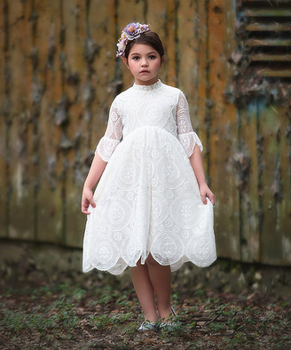 Trish Scully Child Girls' Special Occasion Dresses WHITE - White Mock-Neck Scalloped Lace Aria Dress - Toddler & Girls