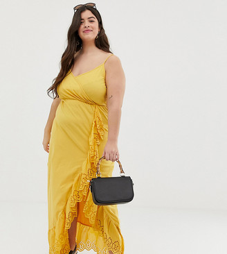 Asos DESIGN Curve broderie trim wrap maxi dress-Yellow