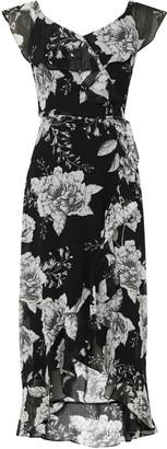 Wallis Black Floral Print Ruffle Midi Dress