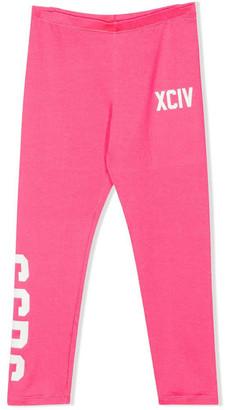 GCDS Pink Cotton Blend Logo Print Leggings