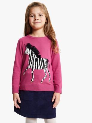 John Lewis & Partners Girls' Zebracorn Jumper, Fuschia Rose