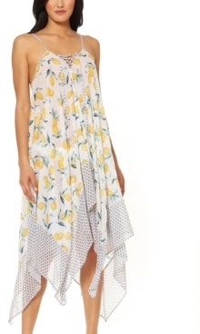 Jessica Simpson Nice Lemons Printed Lace-Up Swim Cover-Up Dress Women's Swimsuit