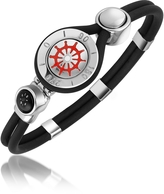 Forzieri Rudder & Compass Stainless Steel and Rubber Bracelet