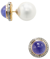 Amrapali 18K Yellow Gold, Pearl, Tanzanite & 0.45 Total Ct. Diamond Two-Sided Stud Earrings