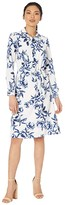 Maggy London Garden Print Midi Shirtdress (Soft White/Navy) Women's Dress