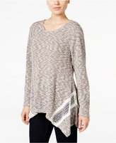 Style&Co. Style & Co. Petite Lace-Trim Handkerchief-Hem Sweater, Only at Macy's