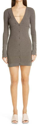 Jacquemus Lauris Long Sleeve Merino Wool Mini Sweater Dress