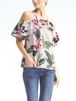 Banana Republic Floral Easy Care Cold-Shoulder Flutter Sleeve Top