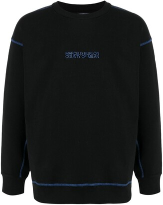 Marcelo Burlon County of Milan Mad Face Chop Over Crewneck Black Blue