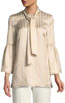 St. John Tie-Neck Striped Satin Twill Bell-Sleeve Blouse