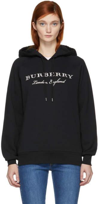Burberry Black Slogan Logo Hoodie