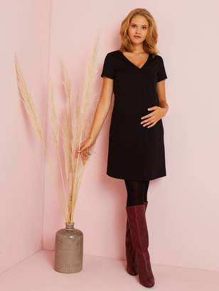 Vertbaudet Plain Knitted Maternity Dress with Large Pockets