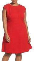 Tahari Plus Size Women's Seamed Crepe Fit & Flare Dress