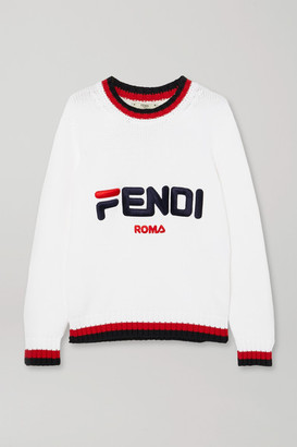 Fendi Embroidered Striped Cotton Sweater - White