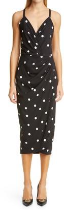 Dolce & Gabbana Dot Drape Tulip Midi Dress