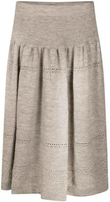 Studio Myr Calf-Length Bohemian Chic Knitted Skirt Sweety - Grey.