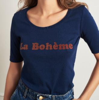 La Petite Francaise Navy Blue Trefle Tee Shirt - Small / Medium