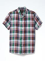 Banana Republic Camden-Fit Plaid Linen Cotton Short-Sleeve Shirt