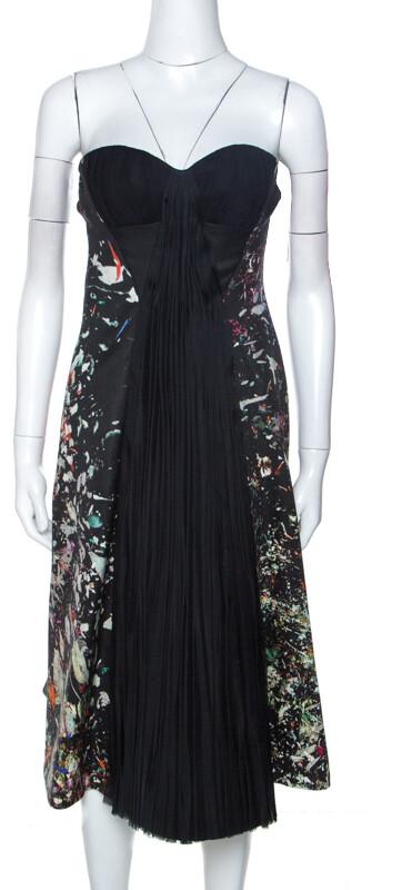 J. Mendel Multicolor Printed Crepe Front Pleat Detail Strapless Dress S