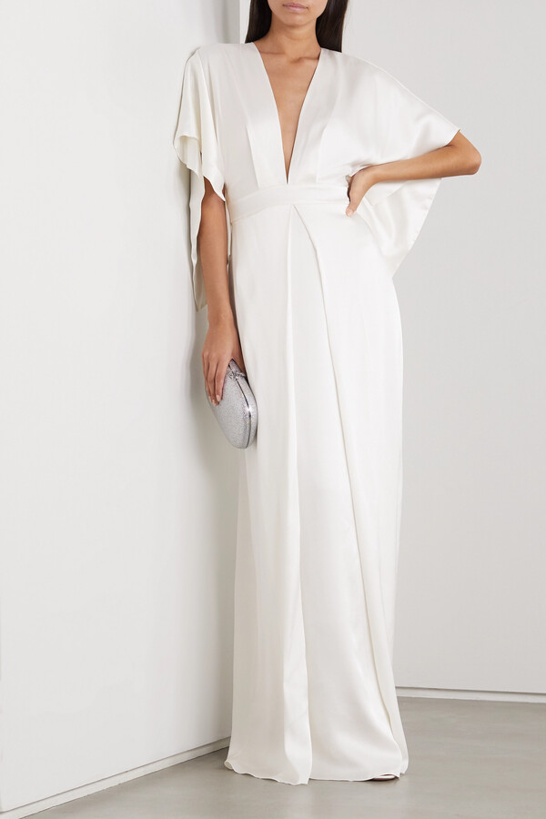 Temperley London Cape-effect Silk-satin Gown - Ivory
