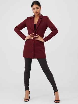 In The Style X Fashion Influx Single Breasted Longline Blazer - Red