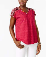 Style and Co Petite Cotton Embroidered Top, Only at Macy's
