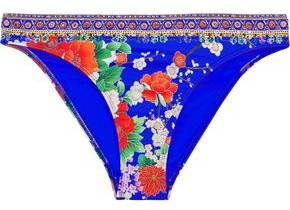 Camilla Playing Koi Crystal-embellished Floral-print Low-rise Bikini Briefs