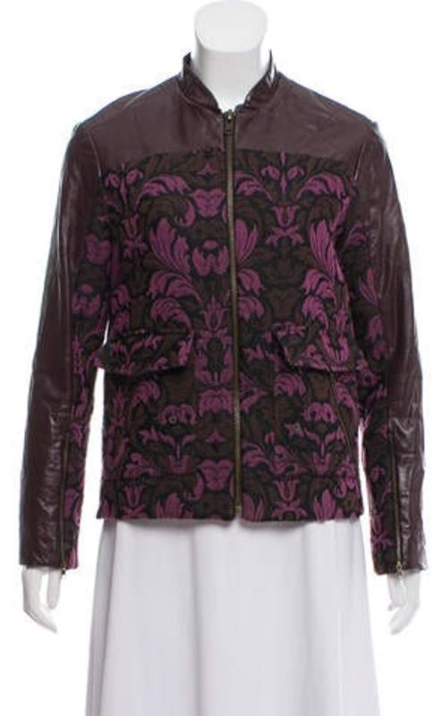 Timo Weiland Leather-Accented Zip-Up Jacket Purple Leather-Accented Zip-Up Jacket