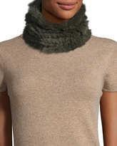 Neiman Marcus Rabbit Fur Cowl Collar, Dark Olive