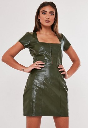 Missguided Jordan Lipscombe X Khaki Faux Leather Milkmaid Hook And Eye Dress