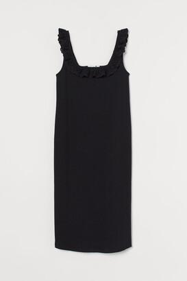 H&M MAMA Ribbed Cotton Dress - Black