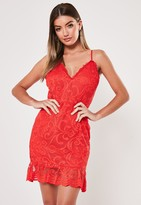 Missguided Red Crochet Plunge Lace Frill Hem Mini Dress