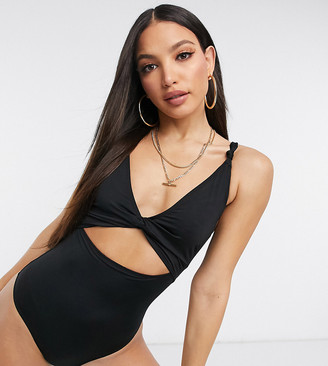 Asos Tall ASOS DESIGN tall recycled loop front swimsuit with knot in black